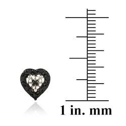 DB Designs Sterling Silver 1/8ct TDW Black Diamond Heart Earrings