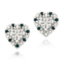 DB Designs Sterling Silver 1/8ct TDW Blue Diamond Heart Earrings