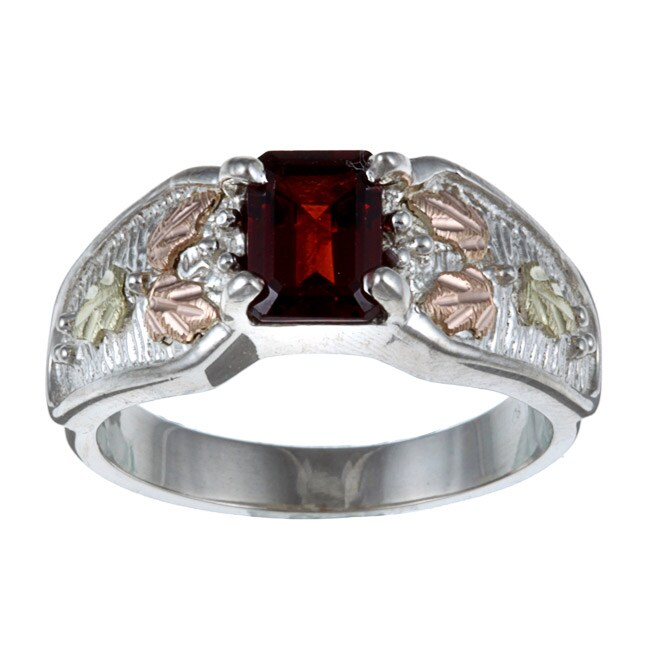 Black Hills Gold and Sterling Silver Garnet Ring