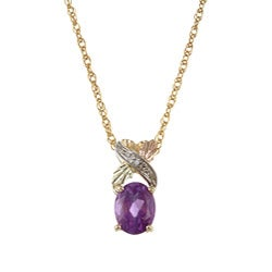 Black Hills Gold Amethyst and Diamond Pendant