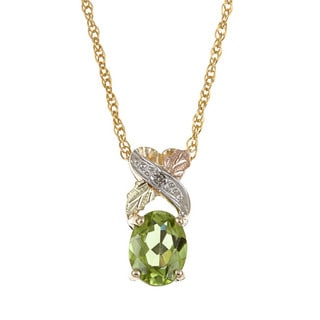 Black Hills Gold Peridot and Diamond Accent Necklace