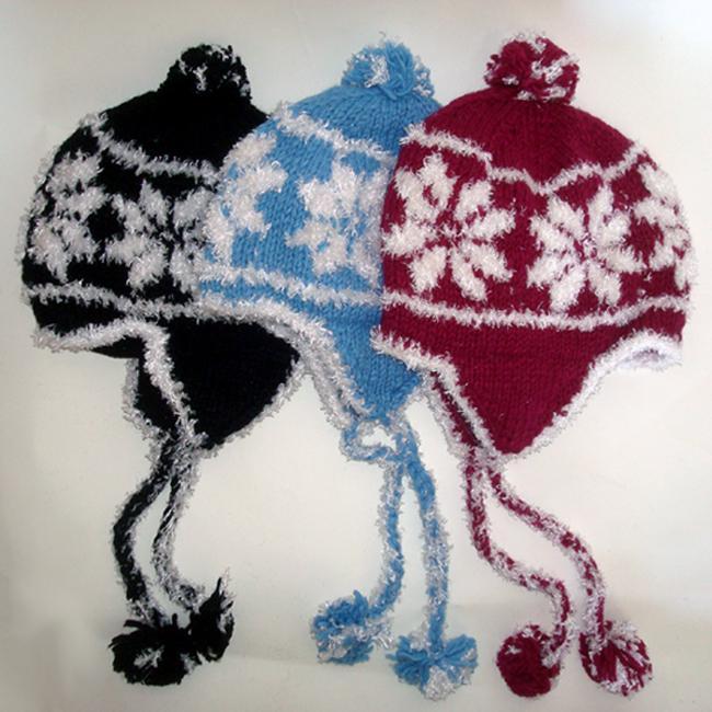 Cotton and Wool Two-tone Snowflake Ski Hat (Nepal)