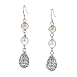 Kabella Sterling Silver Freshwater Pearl Wire Dangle Earrings (6-7 mm)