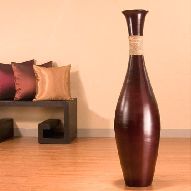 Dark Brown 44-inch Bamboo Vase and Natural Branches