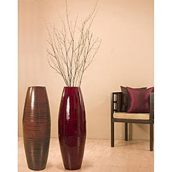 Bamboo 36-inch Cylinder Vase with Birch Branches