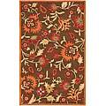 Handmade Blossom Gardens Brown Wool Rug (4' x 6')