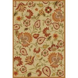 Handmade Blossom Paisley Beige Wool Rug (5' x 8')