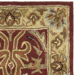 Handmade Heritage Heriz Red/ Navy Wool Runner (2'3 x 4')