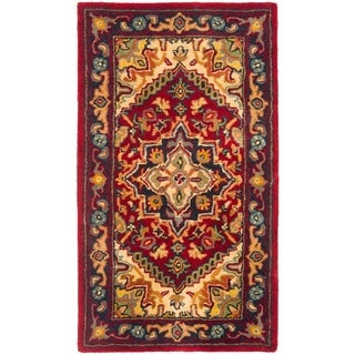 Safavieh Handmade Heritage Heriz Red/ Navy Wool Runner (2'3 x 4')
