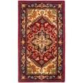 Safavieh Handmade Heritage Heriz Red/ Navy Wool Runner (2'3 x 4')