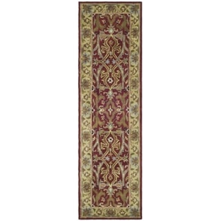 Handmade Heritage Treasures Red/ Gold Wool Runner (2'3 x 4')