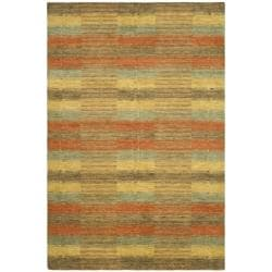 Hand-knotted Himalayan Southwest Multi-colored Wool Rug (6' x 9')