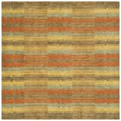 Hand-knotted Himalayan Southwest Multi-colored Wool Rug (6' Square)