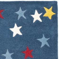 Safavieh Handmade Novelty Stars Blue Wool Rug (2'6 x 4')