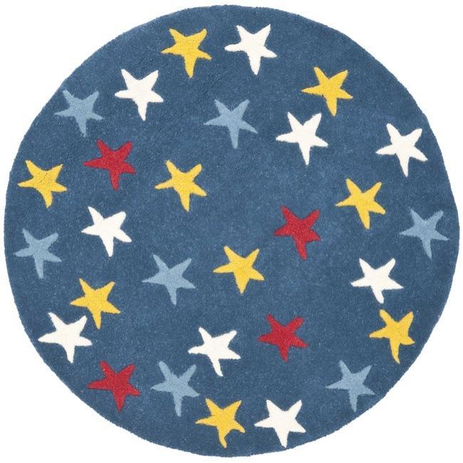 Safavieh Handmade Novelty Stars Blue Wool Rug (3' Round)