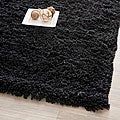 Hand-woven Bliss Black Shag Rug (7' Square)