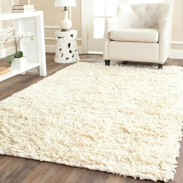Safavieh Hand-woven Posh Ivory Wool Shag Rug (6' x 9')