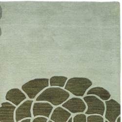 Handmade Soho Botanical Light Grey N. Z. Wool Rug (3'6 x 5'6')