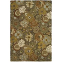 Handmade Soho Gardens Brown/ Multi N. Z. Wool Rug (3'6 x 5'6')