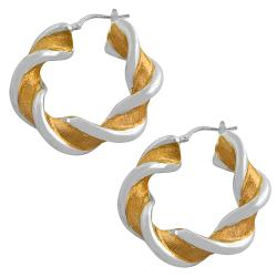Fremada Rose Gold over Silver Electroform Twisted Hoop Earrings