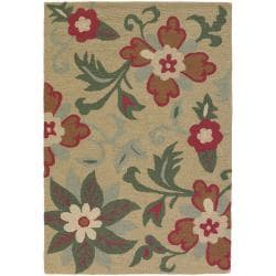 Hand-Tufted Mandara Beige New Zealand Floral Wool Rug (5' x 7'6)
