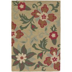 Hand-tufted Mandara Beige New Zealand Wool Rug (9' x 13')