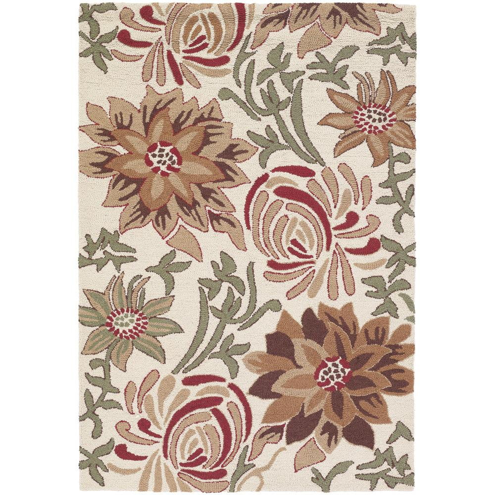 "Floral Hand-Tufted Mandara Ivory New Zealand Wool Rug (5' x 7'6"")"