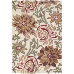 Floral Hand-Tufted Mandara Ivory New Zealand Wool Rug (5' x 7'6