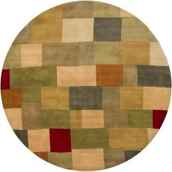 "Hand-Tufted Mandara Green/Gray New Zealand Wool Rug (7'9"" Round)"