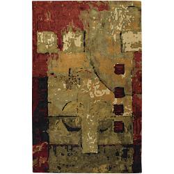 "Hand-Tufted Mandara Multicolor Abstract New Zealand Wool Rug (7'9"" x 10'6"")"