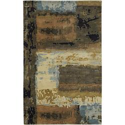 "Contemporary Hand-Tufted Mandara Multicolored New Zealand Wool Rug (5' x 7'6"")"
