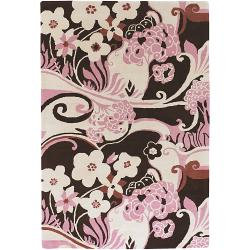 Hand-Tufted Mandara Pink/Beige/Brown New Zealand Wool Rug (5' x 7'6)