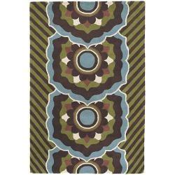 Hand-tufted Mandara Brown/ Green New Zealand Wool Rug (5' x 7'6)