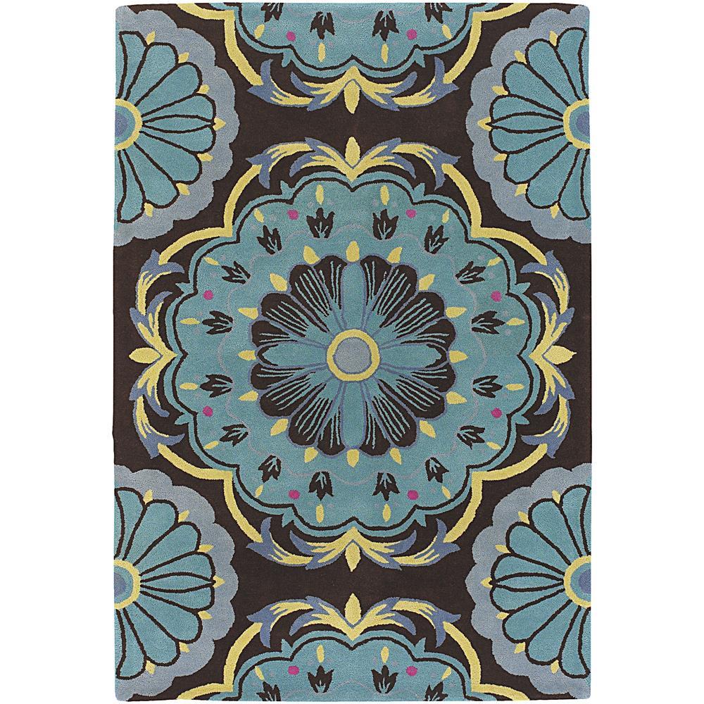 Hand-tufted Mandara Brown/ Blue New Zealand Wool Rug (7'9 x 10'6)