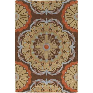 Hand-tufted Dharima Brown/ Orange New Zealand Wool Rug (7'9 x 10'6)