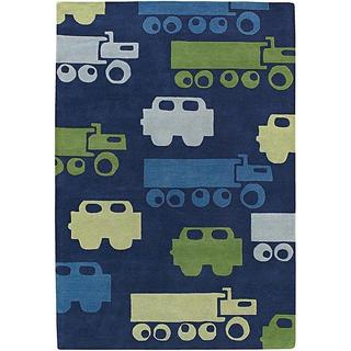 "Plush Hand-Tufted Mandara Blue New Zealand Wool Rug (7'9"" x 10'6"")"