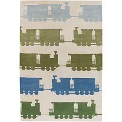 Hand-Tufted Mandara Multicolored/Beige New Zealand Wool Rug (7'9