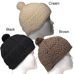 Hand-crafted Fleece-lined Cotton and Wool Single-pom Beanie (Nepal)