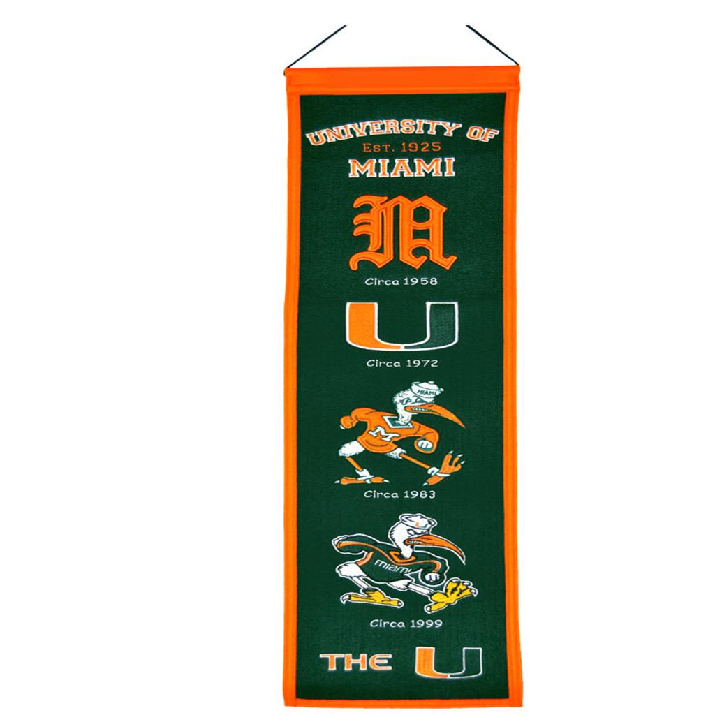 Miami Hurricanes Wool Heritage Banner