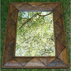 Large Teak Wood Triangle Wall Mirror (Thailand)