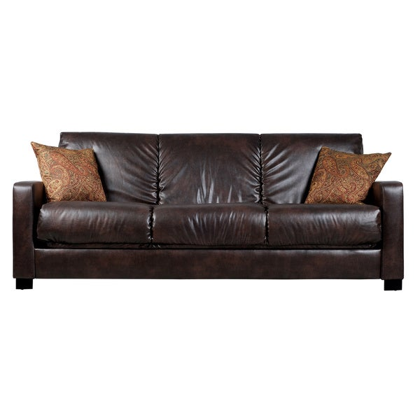 Portfolio Trace Convert-a-Couch Brown Renu Leather Futon Sofa Sleeper