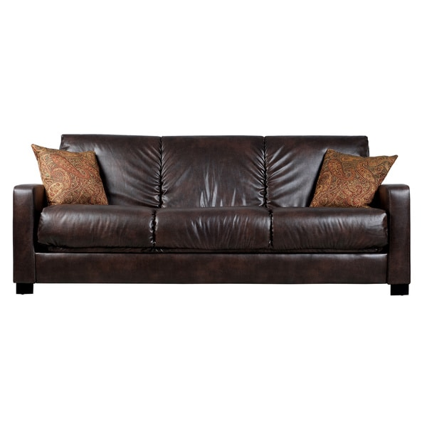 Contemporary Leather Sleeper Sofa Couch Futon Upholstered Faux Full Size Brown Ebay