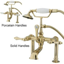 Deck-mount Clawfoot Polished Brass Tub Faucet with Hand Shower