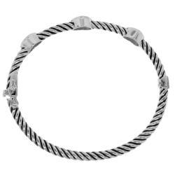 Sterling Silver 1/5ct TDW Diamond Heart Bangle (H-I, I1-I2)