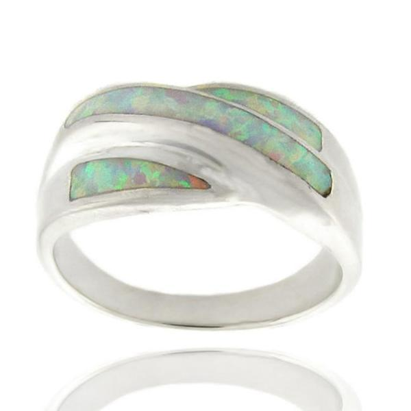 Dolce Giavonna Sterling Silver Created Opal Ring