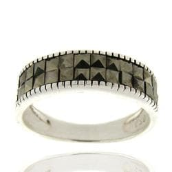Dolce Giavonna Sterling Silver Marcasite Band Ring (Size 8)