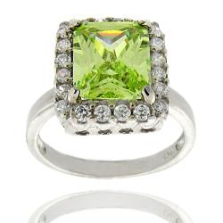 Dolce Giavonna Sterling Silver Lime Cubic Zirconia Square Ring (Size 7)