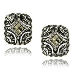 Dolce Giavonna Sterling Silver Marcasite Earrings