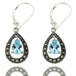 Dolce Giavonna Sterling Silver Marcasite and Blue Topaz Dangle Earrings