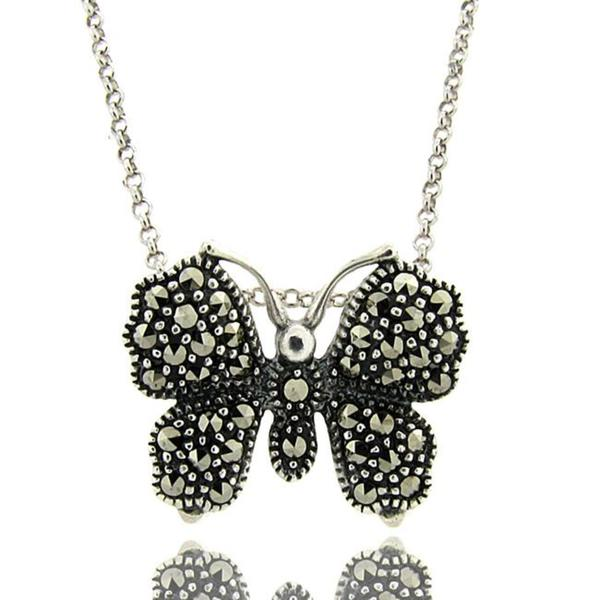 Dolce Giavonna Sterling Silver Marcasite Butterfly Necklace